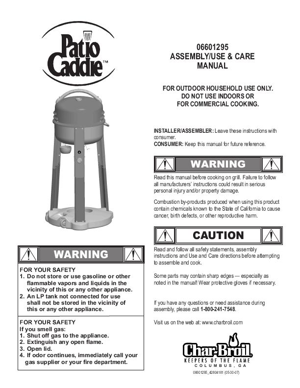 Char Broil Patio Cad Gas: I Have The Char Broil ELECTRIC Patio