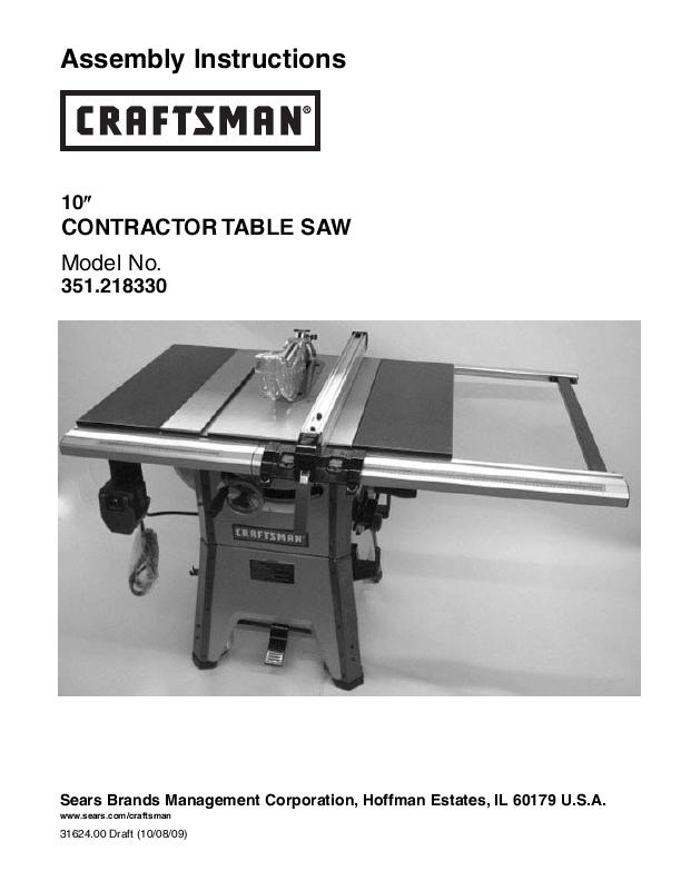craftsman saw user 39 s guide. Black Bedroom Furniture Sets. Home Design Ideas