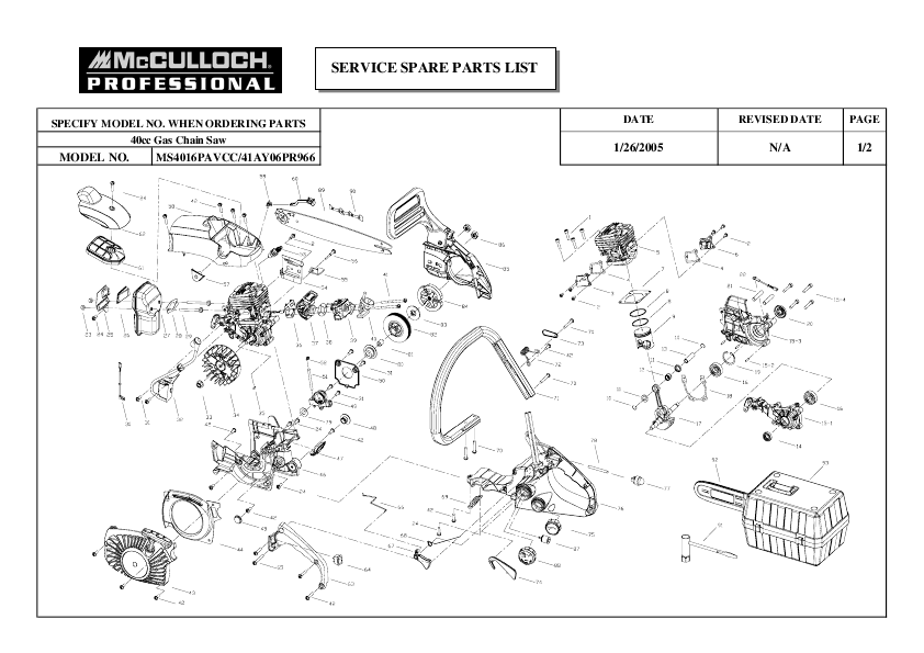 Mcculloch Mac 3200 Chainsaw Parts Diagram