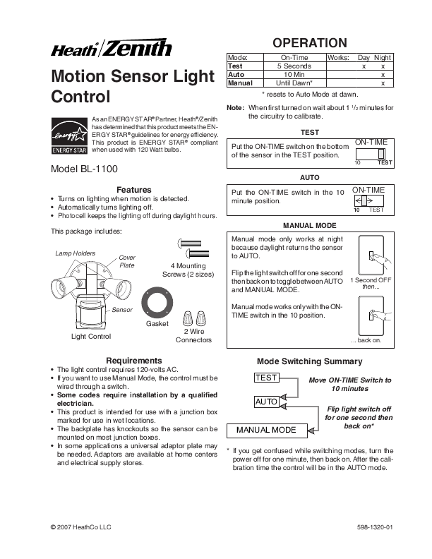 search motion sensors user manuals manualsonline com rh manualsonline com heath zenith motion sensor manual heath zenith solar motion sensor light manual