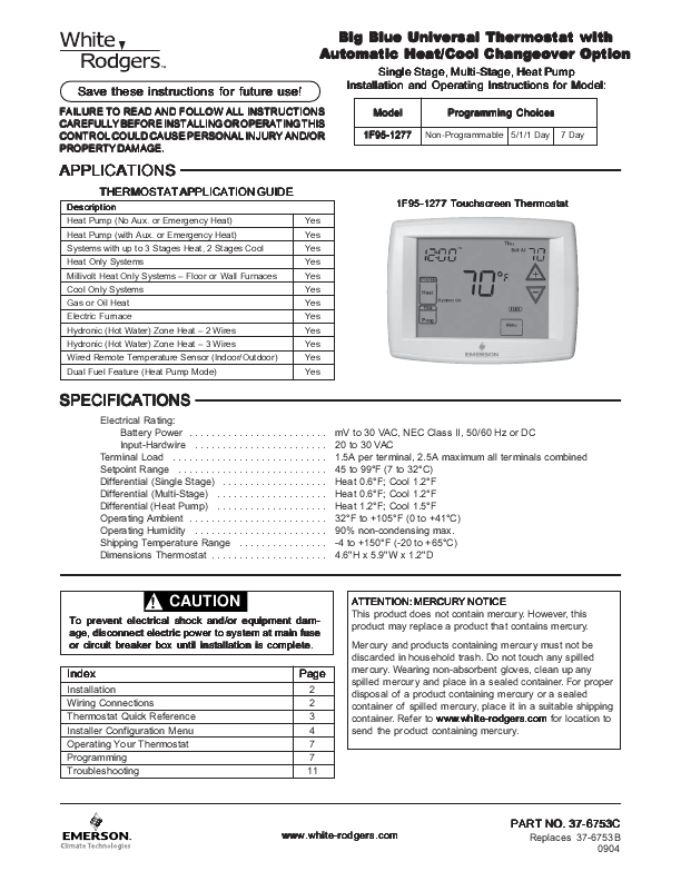white rodgers thermostat manual 1f78