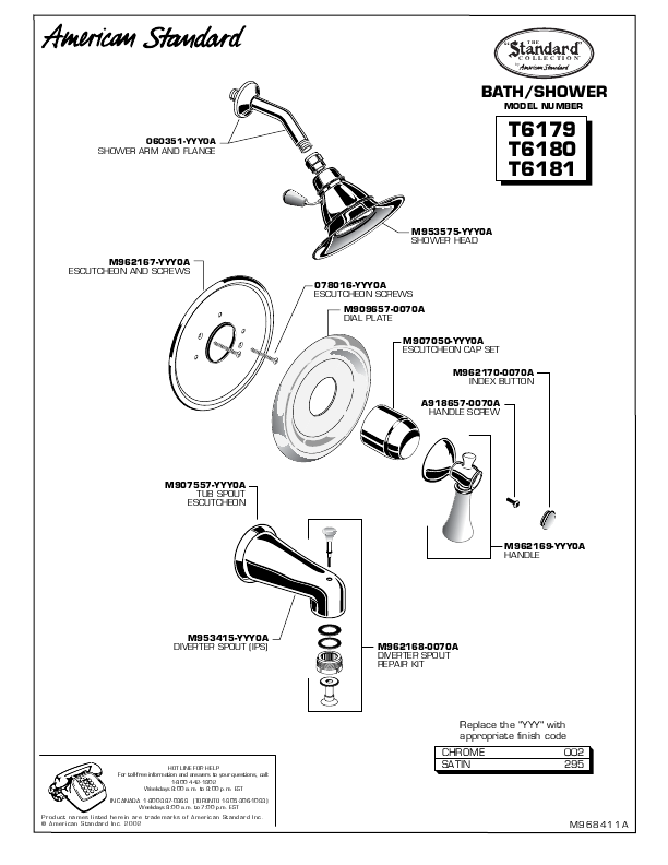American Standard Shower Faucet Parts Diagram American