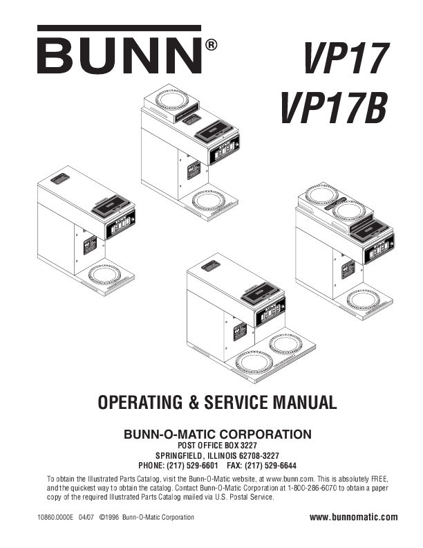 Bunn Coffee Maker User Guide : OPERATING & SERVICE MANUAL - VP17, VP17B ManualsOnline.com