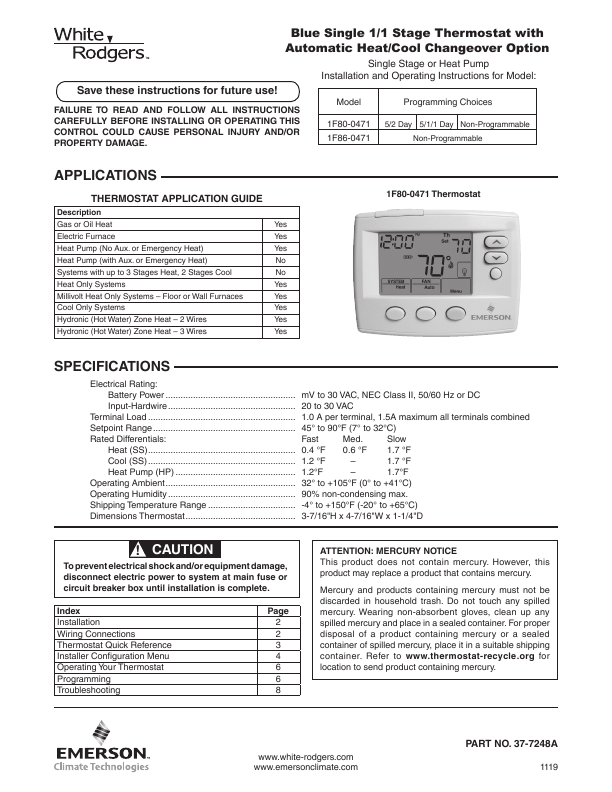 Search White Rodgers 1f8151 User Manuals Manualsonline