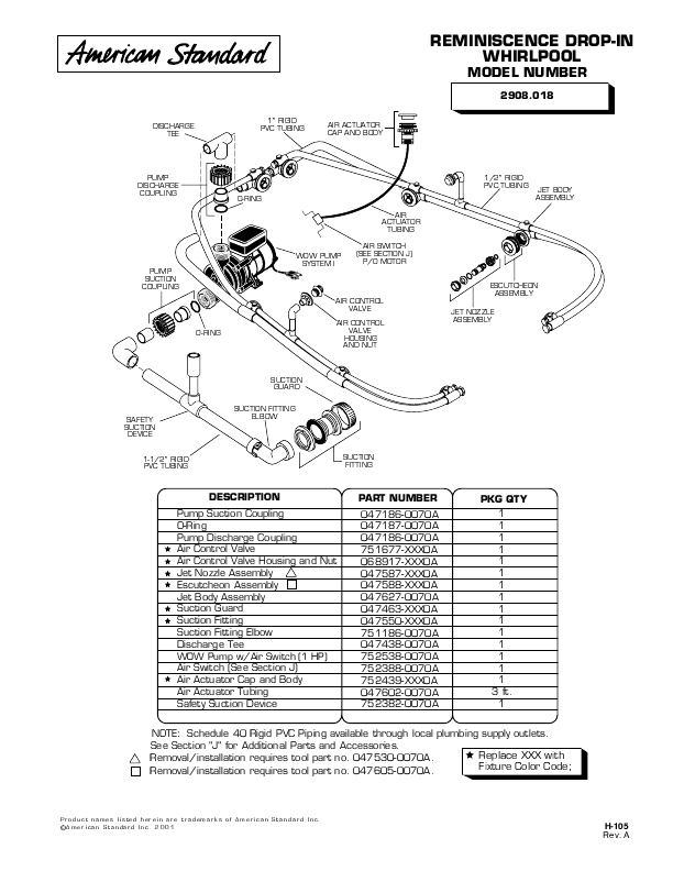 american standard jacuzzi parts image