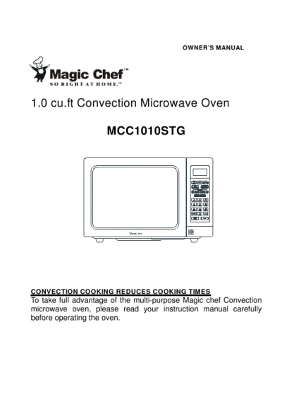 Magic Chef Mcc1010stg Convection Oven