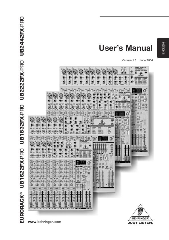 behringer eurorack ub1622fx pro manual