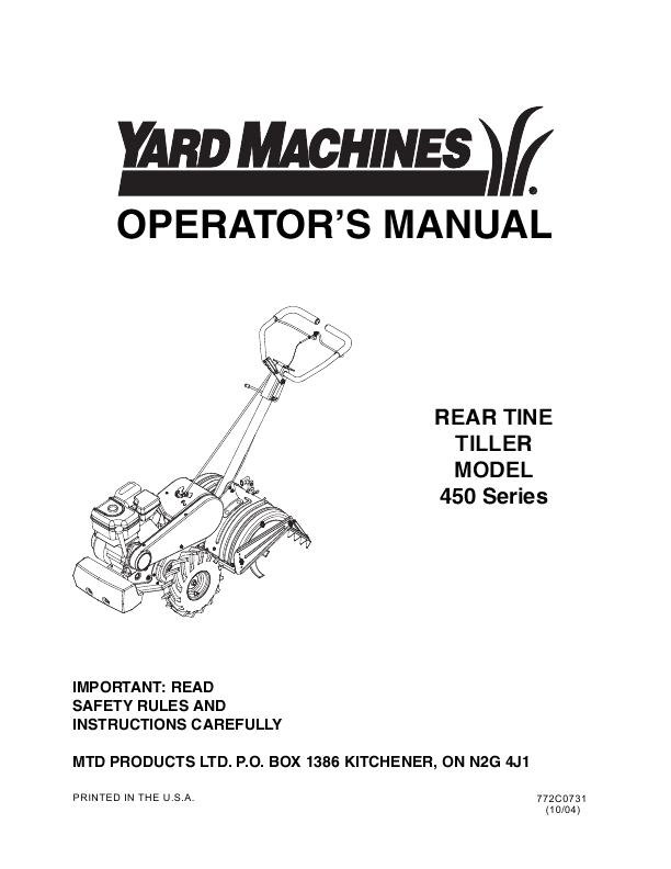 yard machine front tine tiller manual