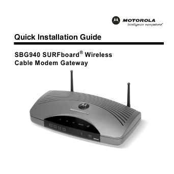 literature motorola wireless cable modem user guide sbg940 type manual