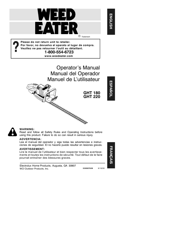 weed eater gas trimmer manual