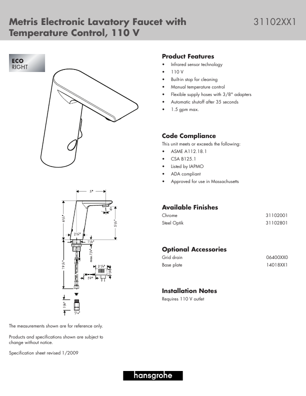 Hans Grohe Indoor Furnishings 31102XX1 User 39 S Guide