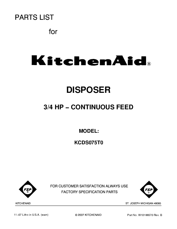 Kitchenaid Kcds075t