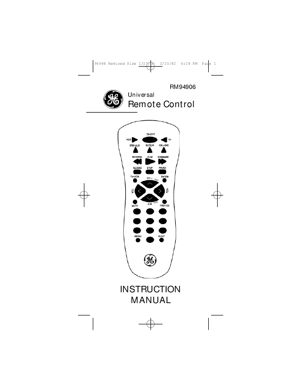 General Electric Universal Remote Control INSTRUCTION MANUAL