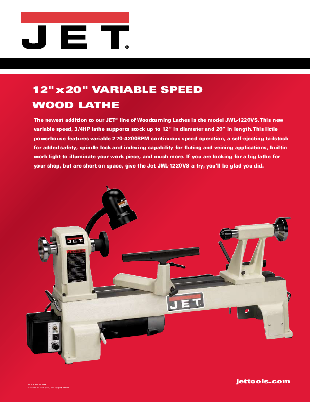 Jet Tools Lathe JWL-1220VS User's Guide | ManualsOnline.com