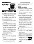 Presto FryDaddy electric deep fryer InstRuctIons manual