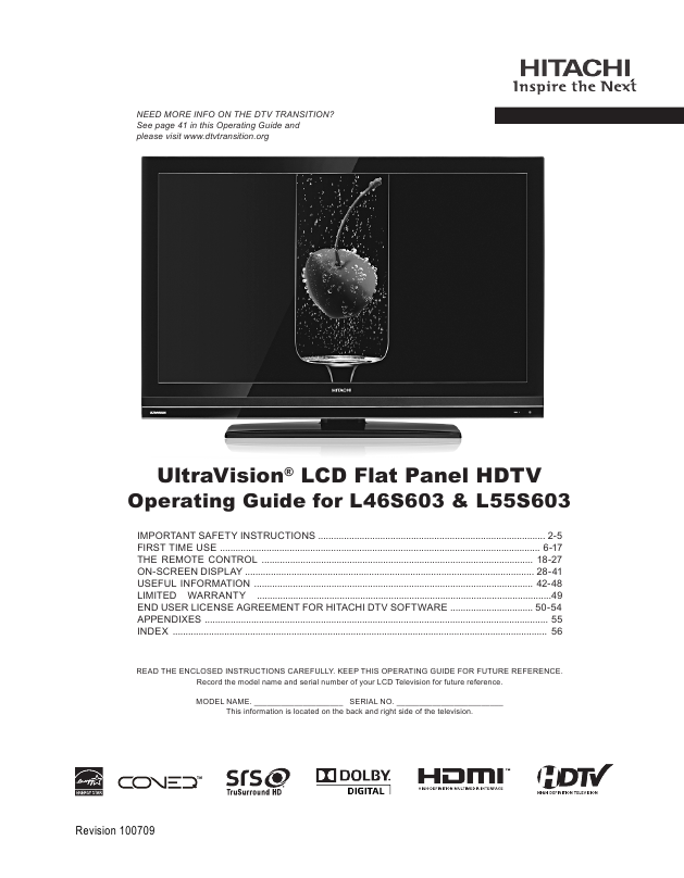 hitachi lcd flat panel hdtv specifications sheet. Black Bedroom Furniture Sets. Home Design Ideas