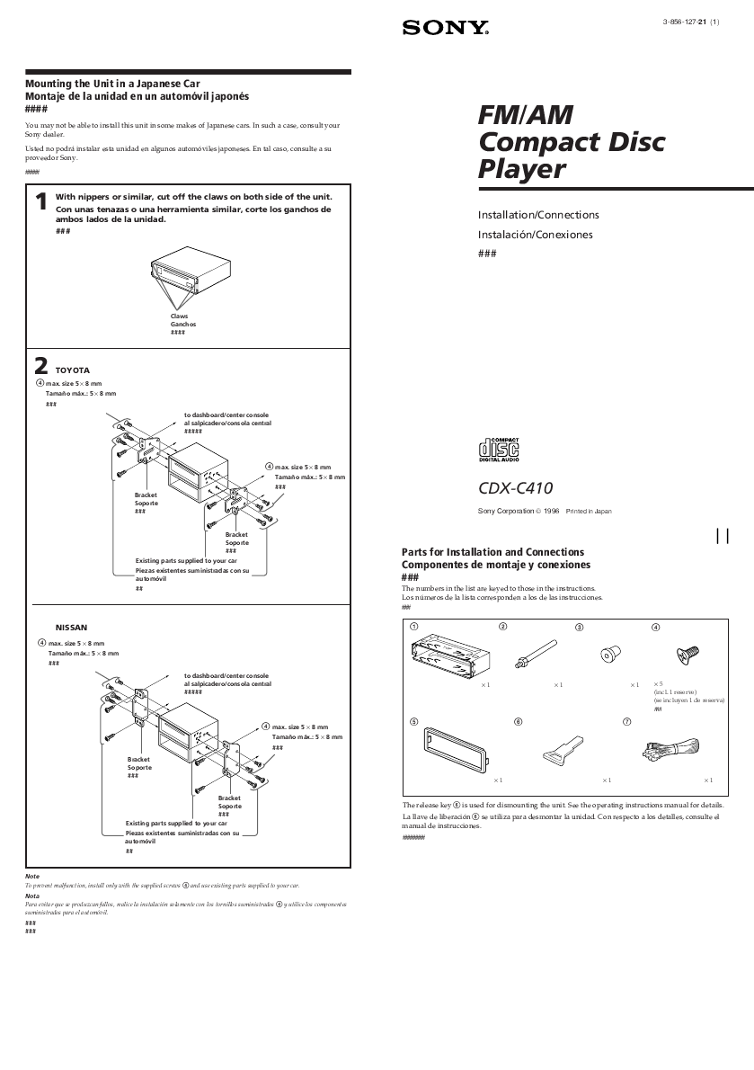Search Sony Cdx M60ui User Manuals Manualsonlinecom M600 Wiring Diagram C410