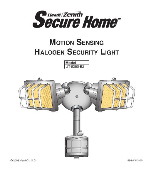 Heath Zenith Halogen Security Light Owner 39 S Manual
