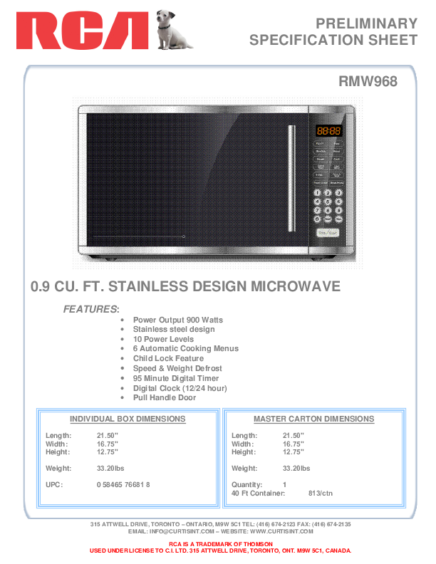 rca microwave oven rmw968 user 39 s guide. Black Bedroom Furniture Sets. Home Design Ideas