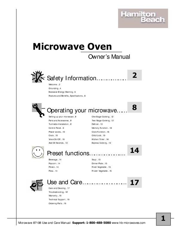 Hamilton Beach Microwave Oven 87108 User S Guide