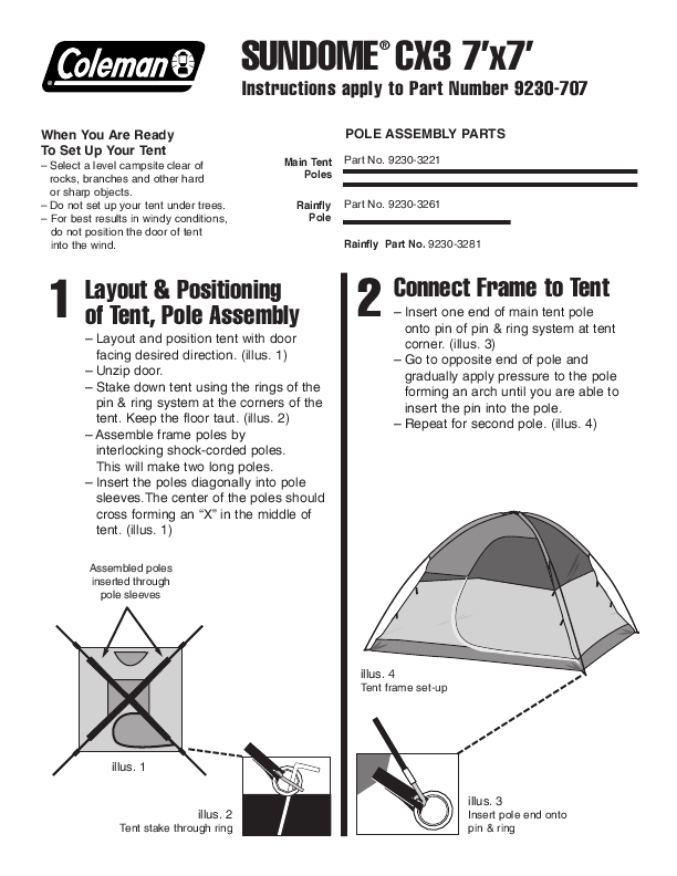 Coleman SUNDOME CX3 7u0027x7u0027  sc 1 st  TV Manuals online - ManualsOnline.com & Search tent User Manuals | ManualsOnline.com