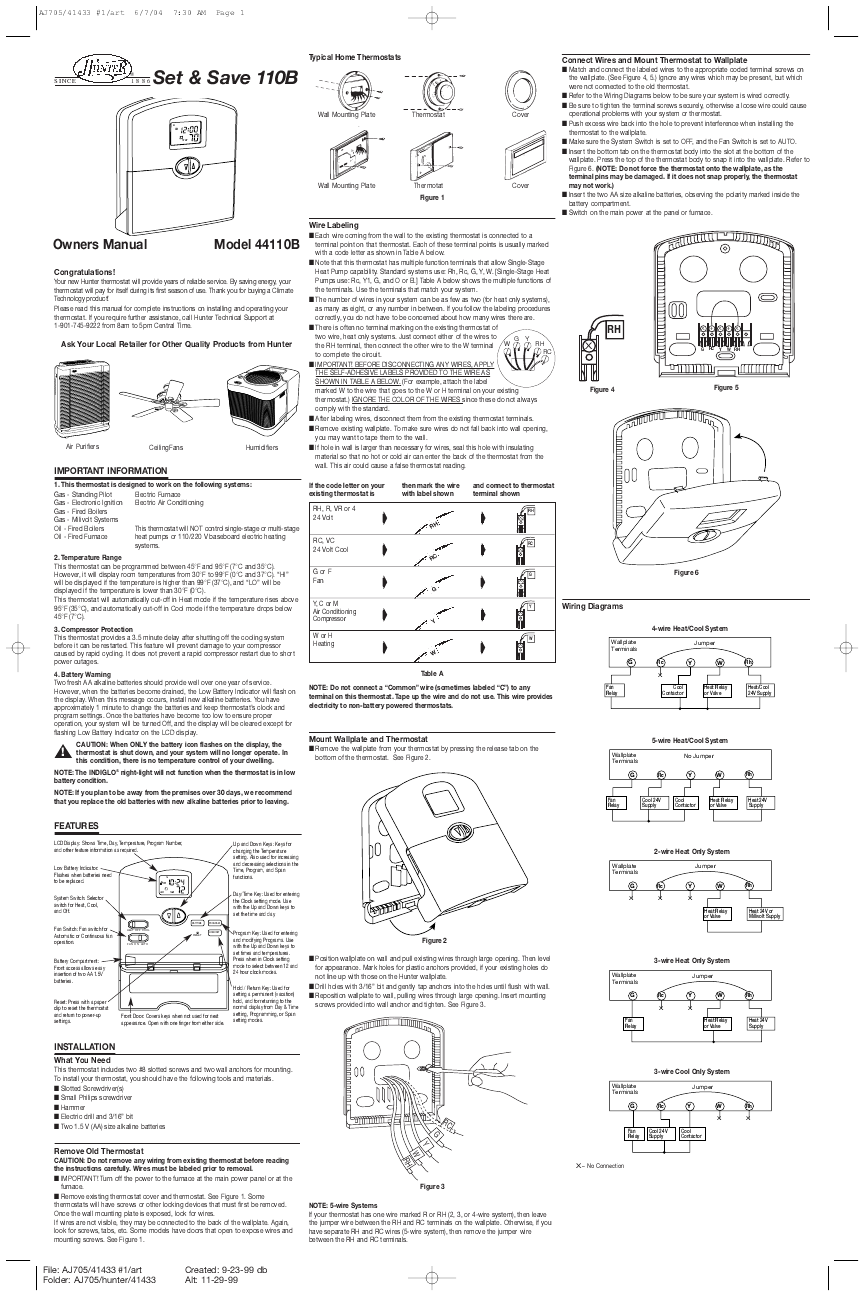 Search Remote User Manuals 40035a Wiring Diagram Hunter Fan 44110b