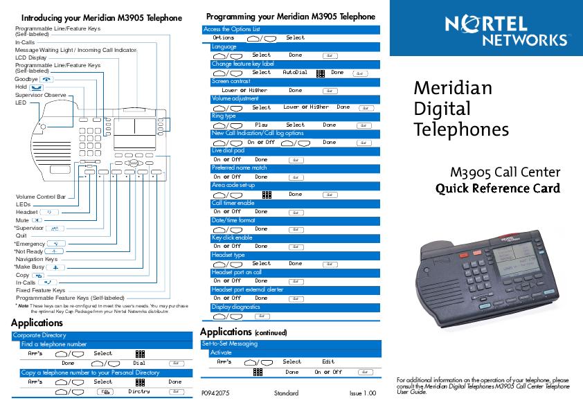 meridian phone m2616 user manual book db