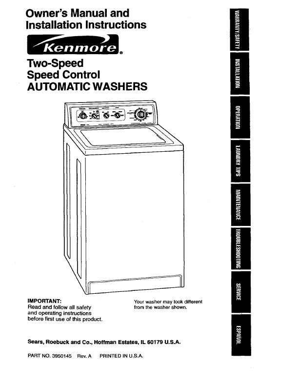 Owner's Manuals Kenmore Elite Front Loading Washer  Dryer