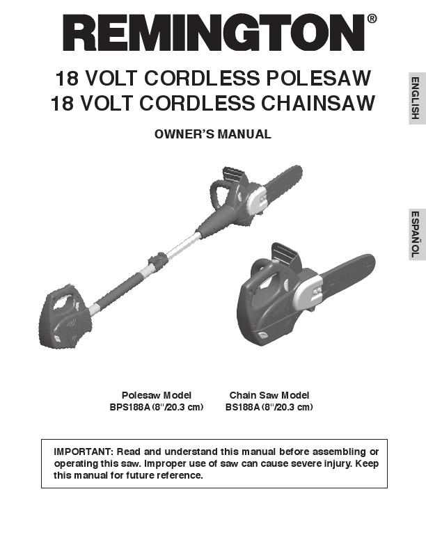 remington pole saw manual 106890 02