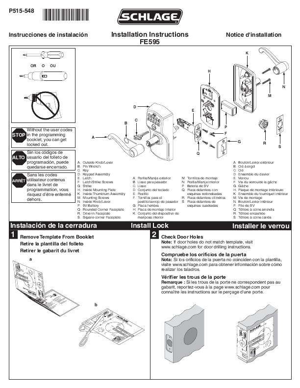 schlage lock instructions d'installation deadbolts