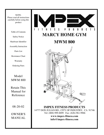 search impex impex home gym user manuals manualsonline com rh manualsonline com Marcy Home Gym Exercise Equipment Marcy Home Gym Attachments