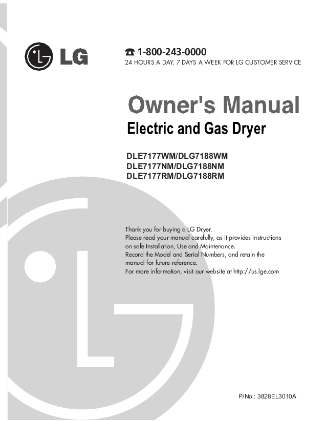 FoggyFacts: LG dryer DLE7177 service manual