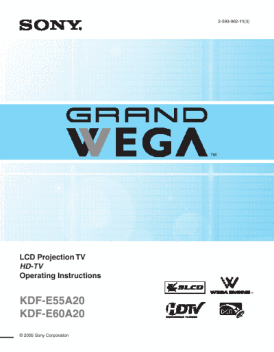 Sony Projection Television Kdf E55a20 User S Guide