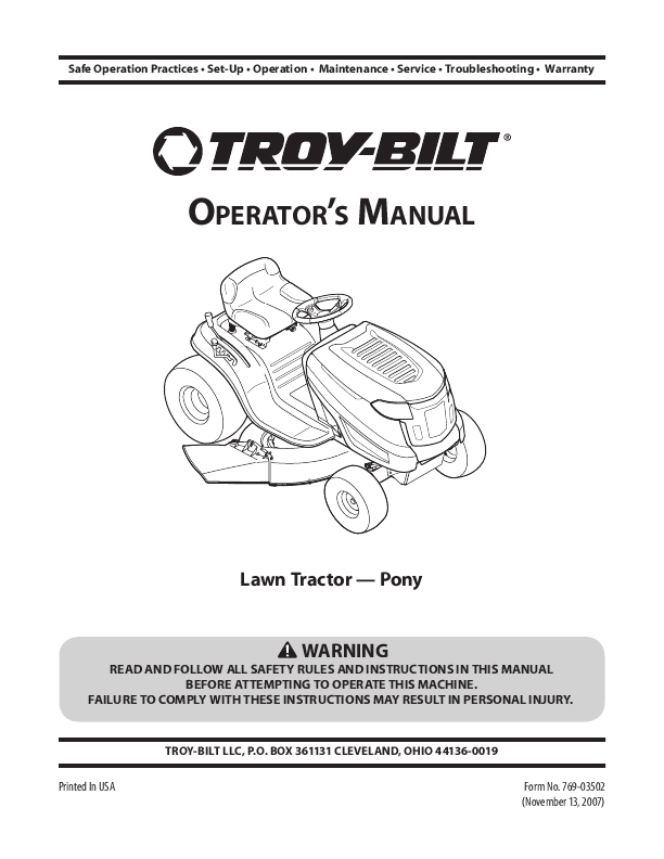 Troy Bilt Riding Mowers Manuals on troy bilt riding mower wiring diagram