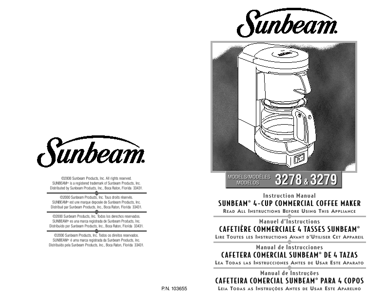 Sunbeam Instruction Manual 4-CUP COMMERCIAL COFFEE MAKER 3278, 3279
