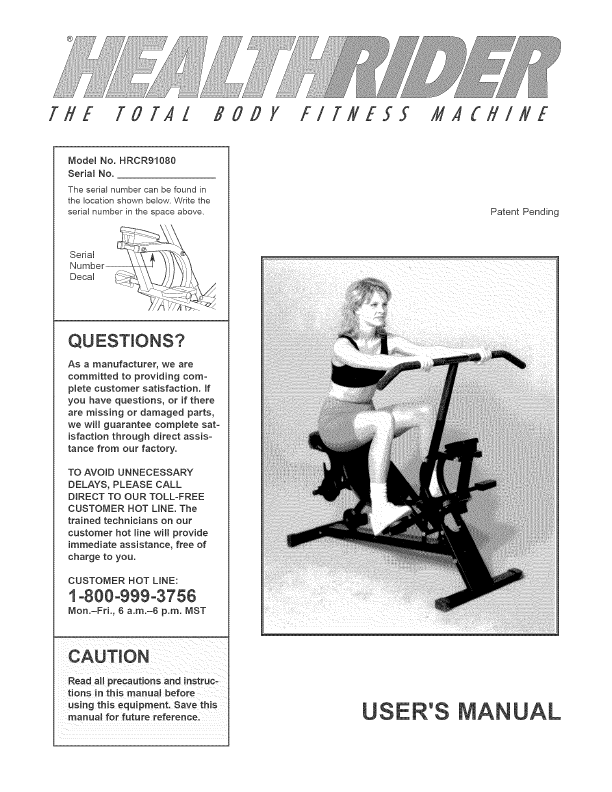 Healthrider Exercise Bike User Manual