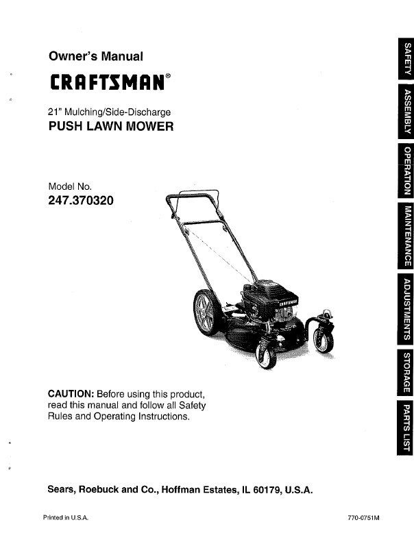 Craftsman Lawn Mower 247 37032 User S Guide