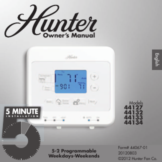 search hunter hunter thermostat 2 user manuals manualsonline com rh manualsonline com Hunter 44110 Thermostat Manual Hunter Thermostat 44377 Manual