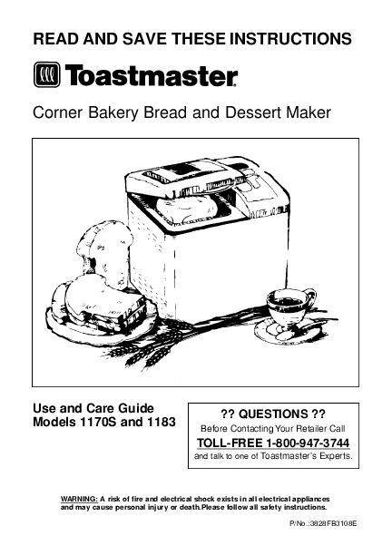 toastmaster bread machine manual
