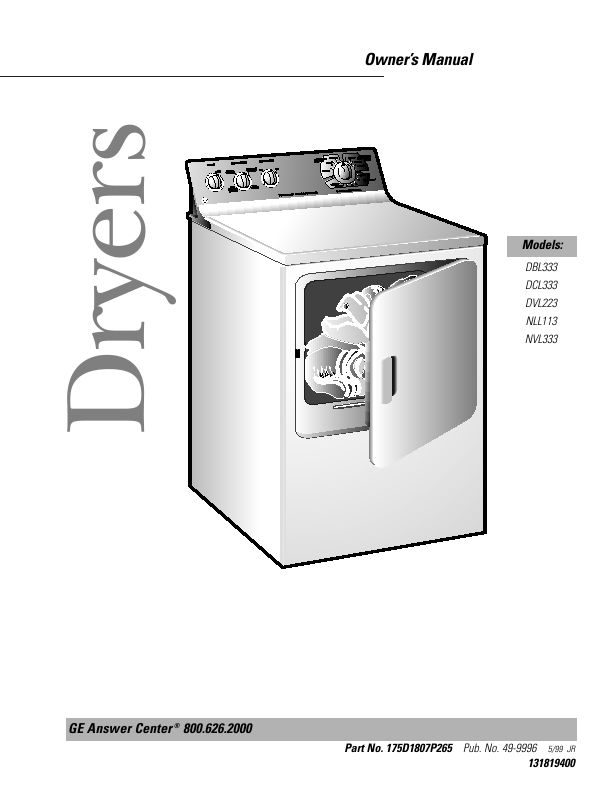 "Dryer Basic Service Manual - Whirlpool/Kenmore 27"" Dryers"