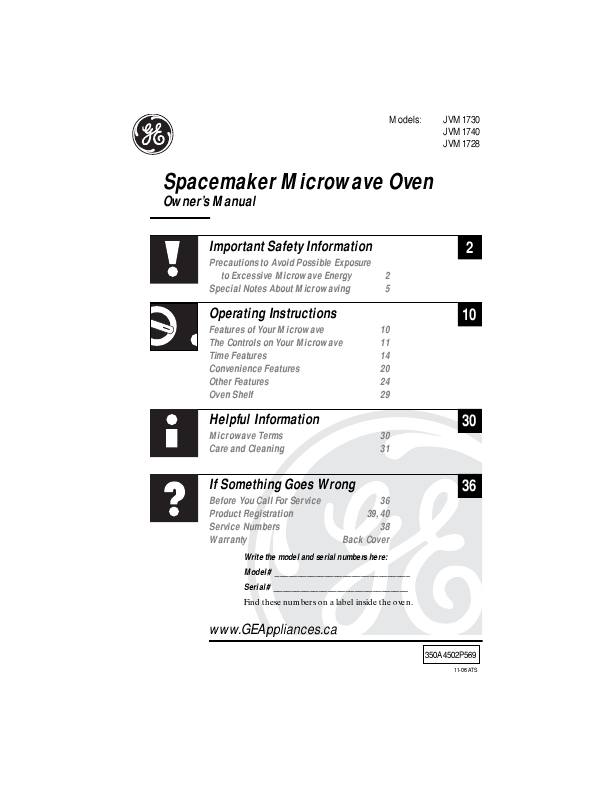 general electric microwave oven manual