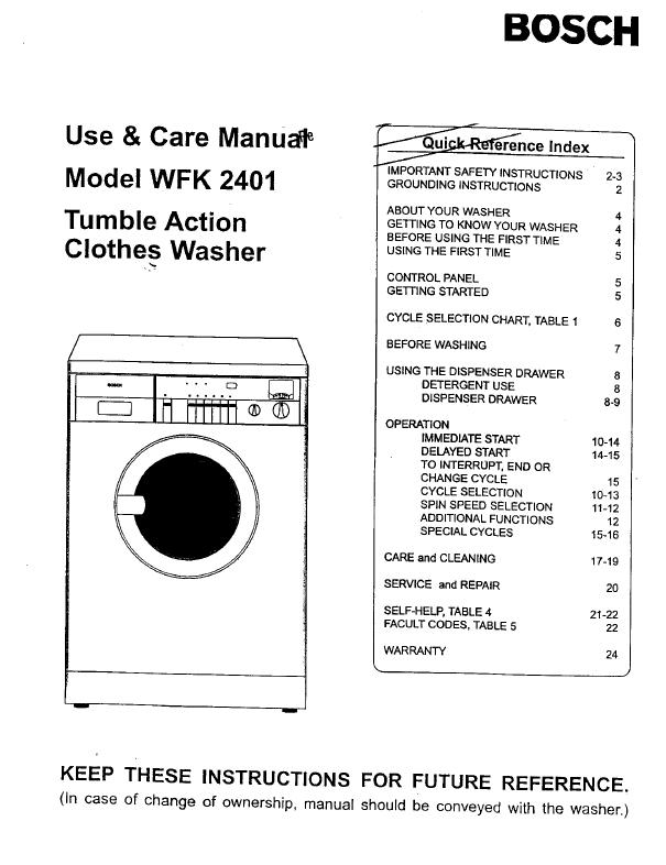 Инструкция по эксплуатации стиральной машины bosch wfc 2060