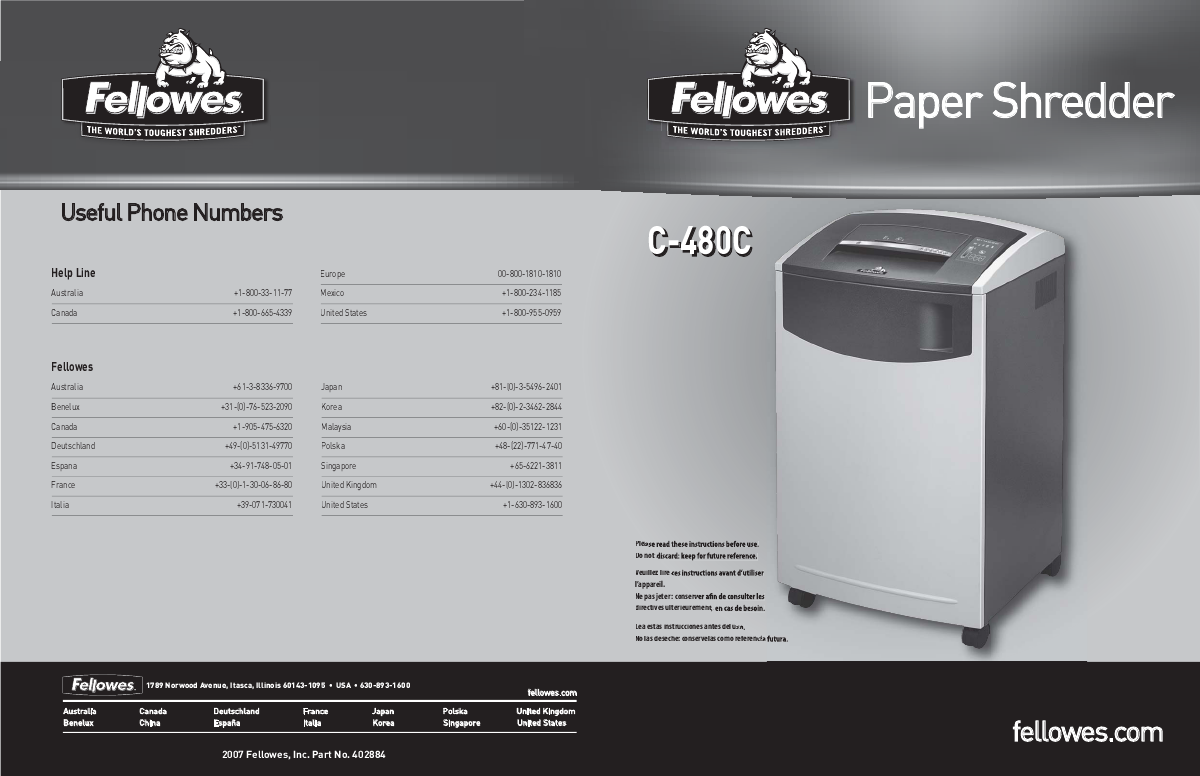 fellowes powershred c 480c manual