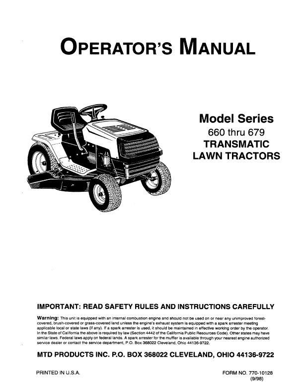 Mtd 38 Inch Riding Mower Manual