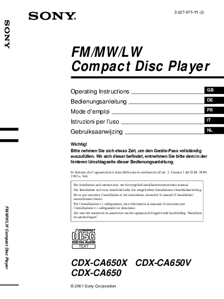 sony cd player cdx ca650x user s guide manualsonline