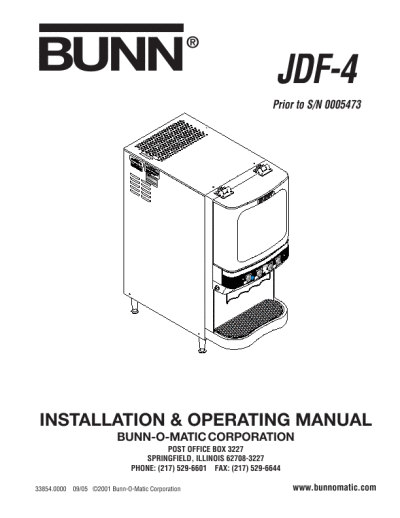 Bunn Coffee Maker Manual Troubleshooting : Bunn Grind and Brew Coffeemaker OPERATING MANUAL JDF-4 ManualsOnline.com