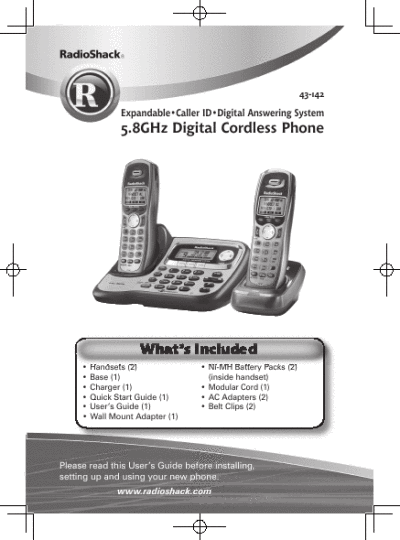 Radio Shack User's Guide 5.8GHz Digital Cordless Phone