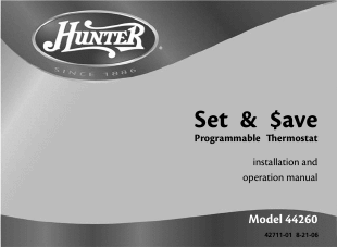 Hunter Model 44260 Thermostat Wiring on hunter thermostat wiring diagram