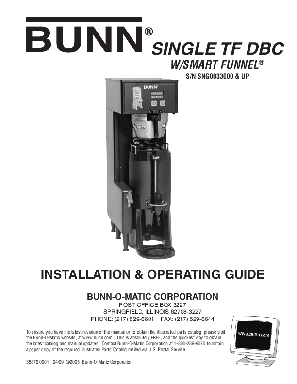 Bunn Coffee Maker User Guide : S,SA ST,STA STF,STFA BUNN OPERATING & SERVICE MANUAL BUNN-O-MATIC ManualsOnline.com