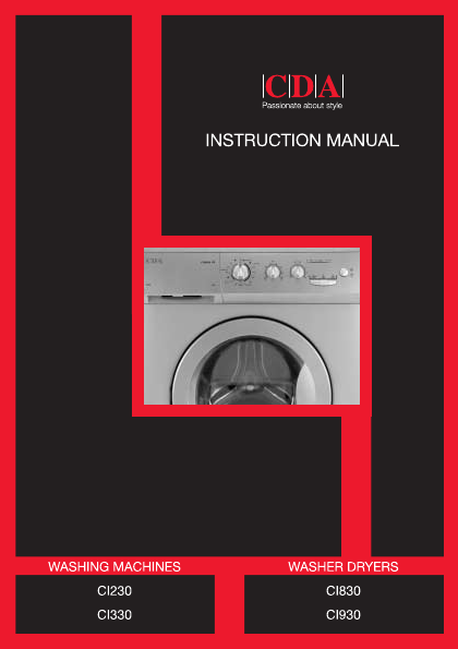 Cda washer ci330 user 39 s guide - Kitchen appliance manufacturers ...